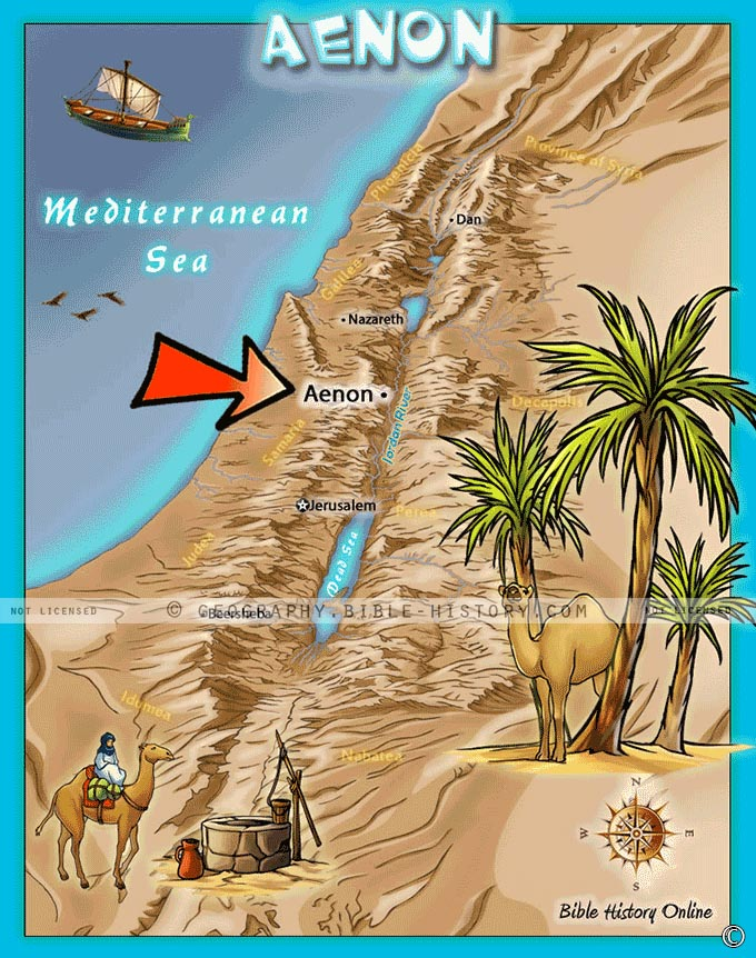 Map of the location of Aenon in ancient Israel where John baptized.