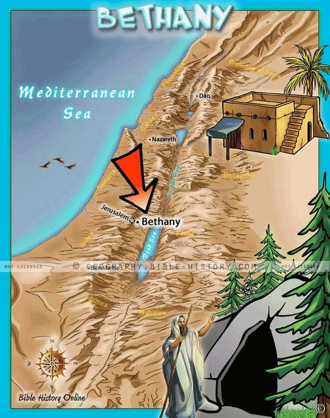 Map of the location of Bethany in ancient Israel where Jesus raised Lazarus from the dead.