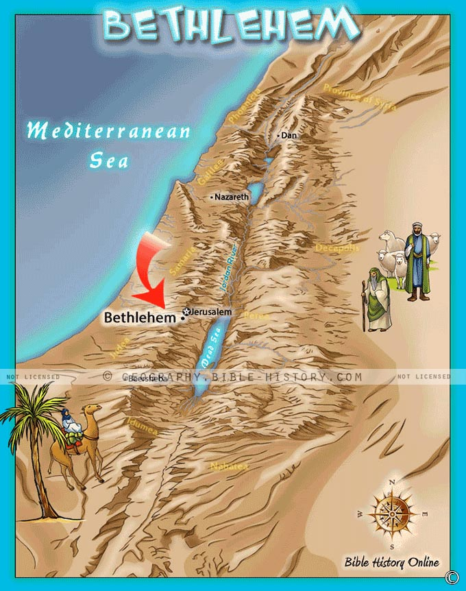Map of the town of Bethlehem where Jesus was born in a manger