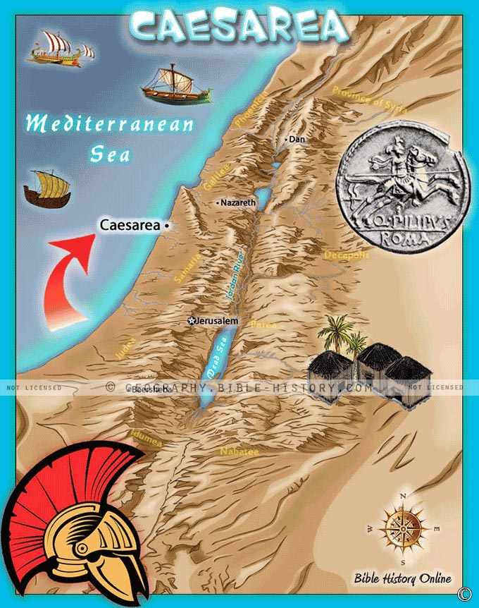 Map of the city of Caesarea, the seaport city in Ancient Israel where Philip lived.
