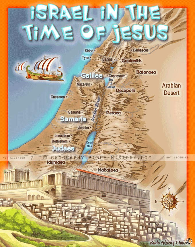 Israel In The Time Of Jesus Kids Bible Maps - Jerusalem map world
