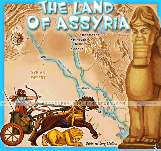 The Land of Assyria in Bible Times with Capital Cities.