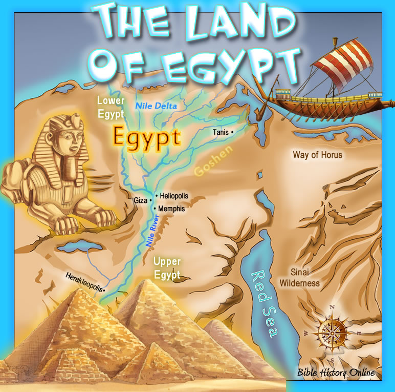 The Land Of Egypt Kids Bible Maps - Map of egypt during exodus
