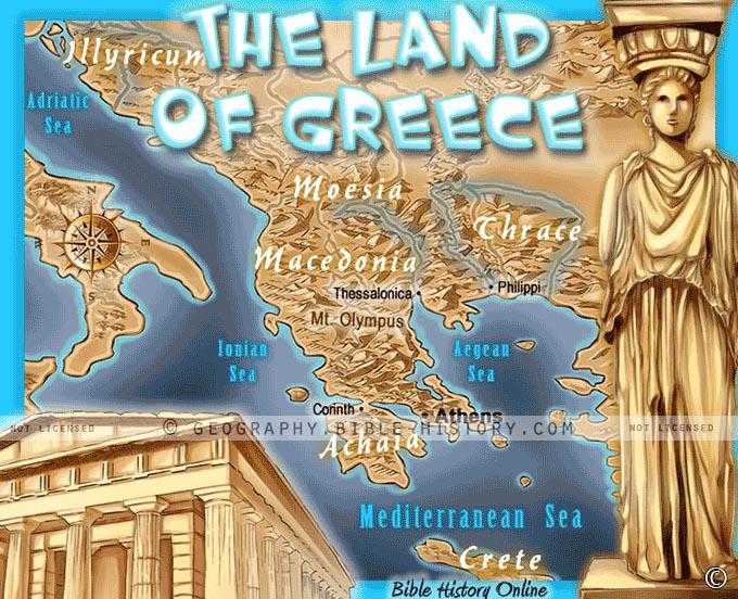 Buy laminated map of the land of ancient greece