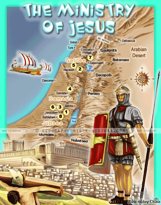 The Ministry of Jesus - Kid's Bible Maps on ywam map, dionysus map, ahab map, youth with a mission map, occult map, ancient judaism map, missionaries of charity map, statue map, noah's flood map, caliph map, crown of thorns map, emmanuel map, shroud of turin map, great commission map, freedom map, indigenous religions map, temptation map, the patriarchs map, shem map, christmas map,