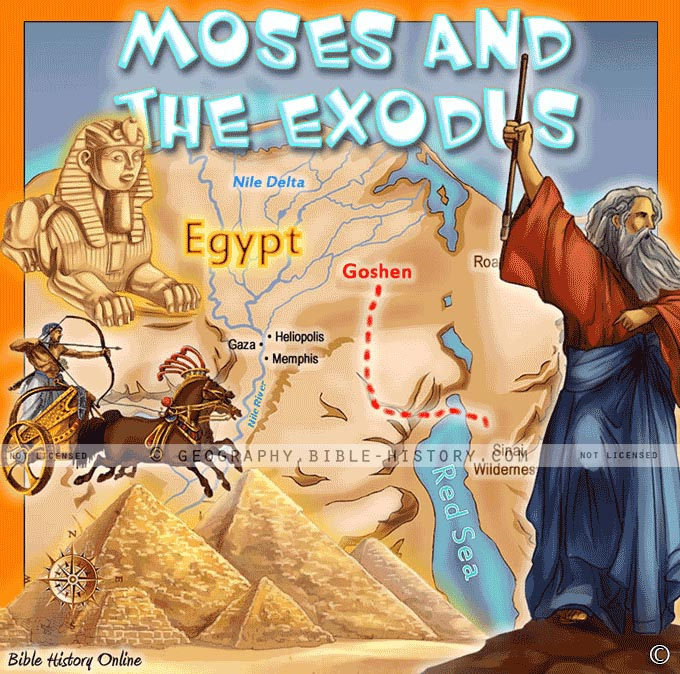 Moses And The Exodus Kids Bible Maps - Map of egypt during exodus