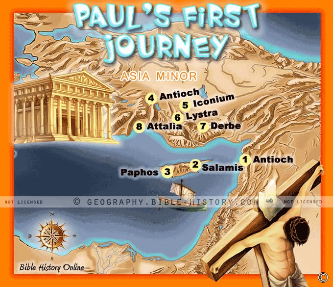 Pauls First Missionary Journey Kids Bible Maps – Map Of Pauls Travels